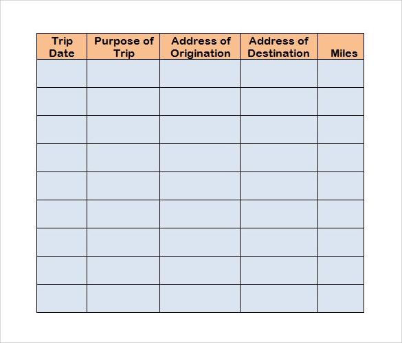 mileage log template sample download