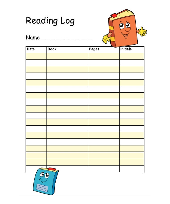 reading log template free download