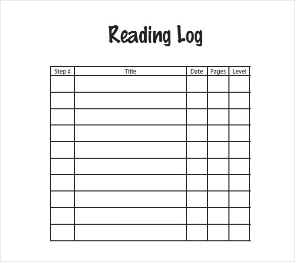 reading log template sample