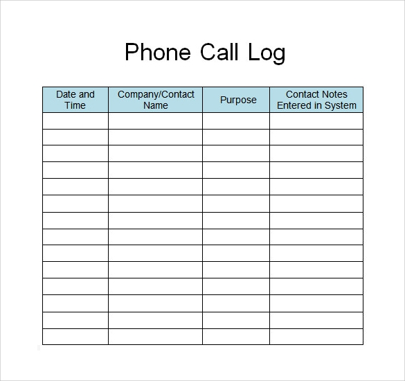 call log template download for free