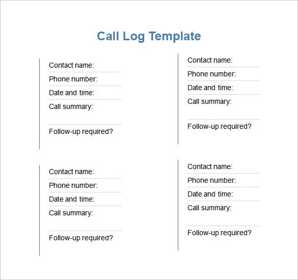 call log template download in word