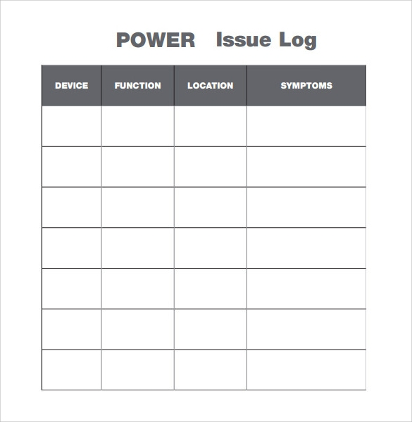 issue log template download in pdf