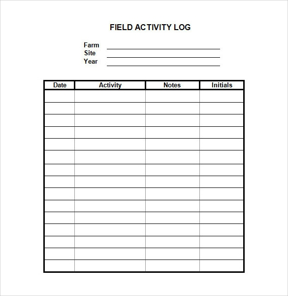 activity log template sample download