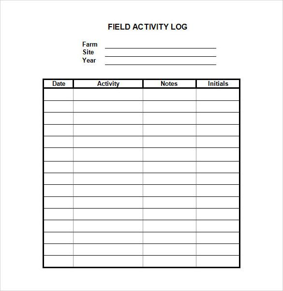 Client Activity Log Template – Printable Editable Blank