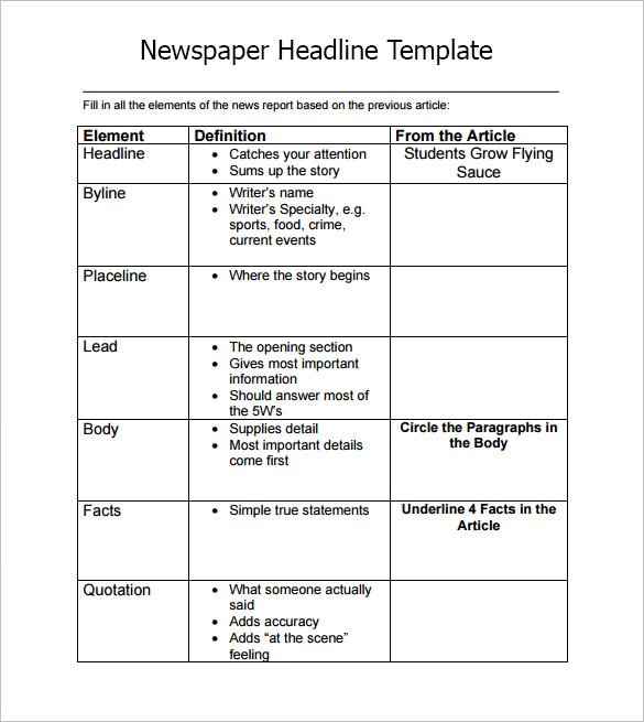 Newspaper Headline Sample   Documents In Pdf Word