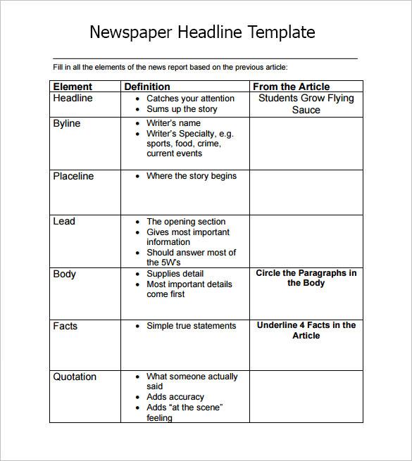 Newspaper Headline Template   7  Download Documents In PDF Word OsC95iZx