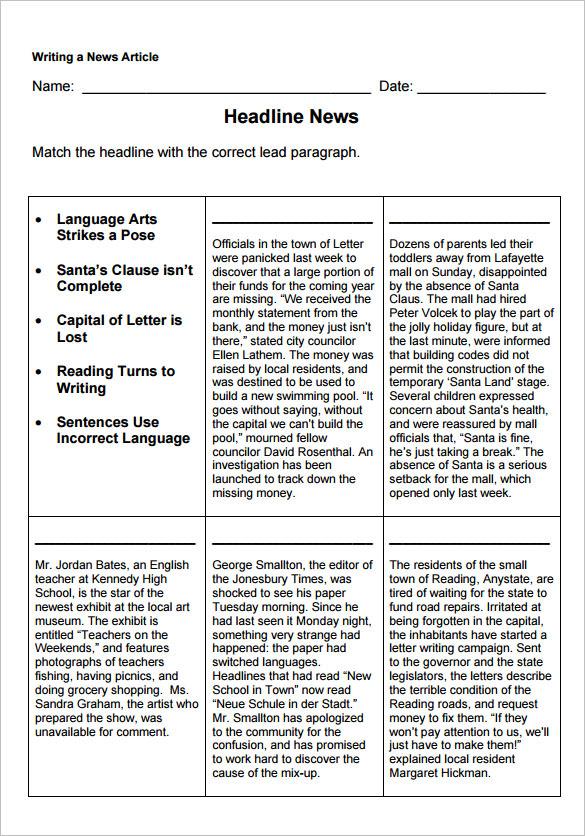 7 newspaper headline samples sample templates. Black Bedroom Furniture Sets. Home Design Ideas