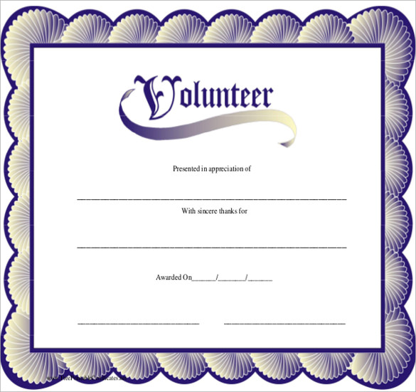 Sample volunteer certificate template 10 free documents in pdf psd best volunteer certificate yadclub Images