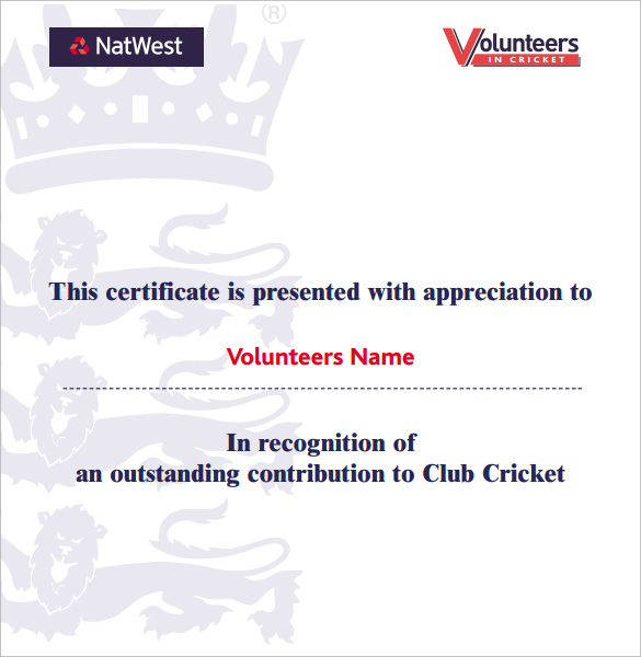 cricket volunteer certificate