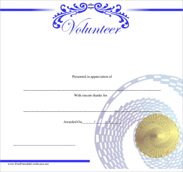 Sample volunteer certificate template 10 free documents in pdf psd volunteer certificate template yelopaper