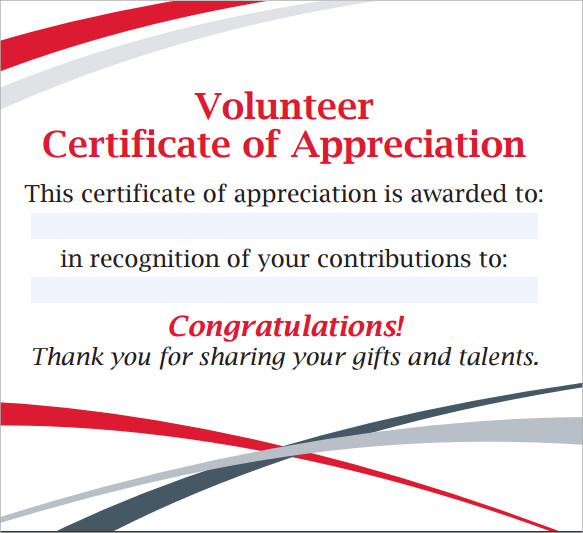 11 volunteer certificate templates sample templates for Volunteer recognition certificate template