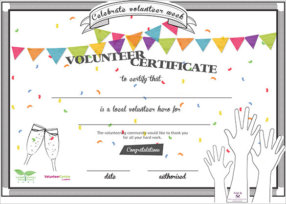 Sample volunteer certificate template 10 free documents in pdf psd volunteer certificate yadclub Images