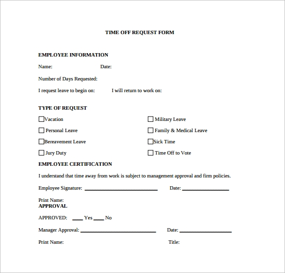 paid time off policy template - printable time off request form pictures to pin on