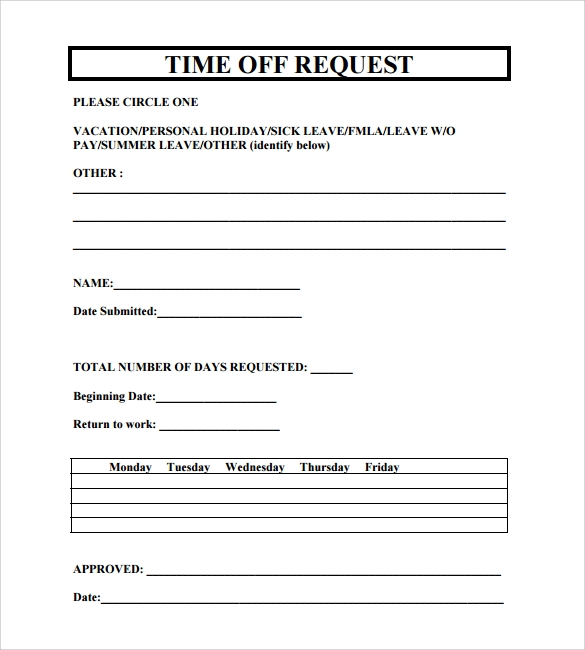 Sample vacation leave form sick leave form template sample request