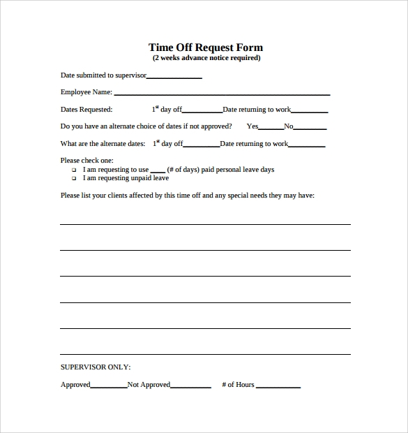 Time Off Request Form  Day Off Request Formsample Vacation Leave