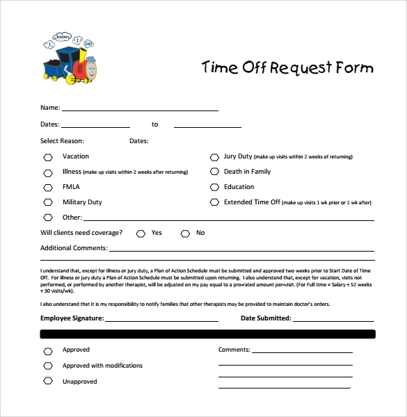 Sample Time Off Request Form   Download Free Documents In Pdf Word