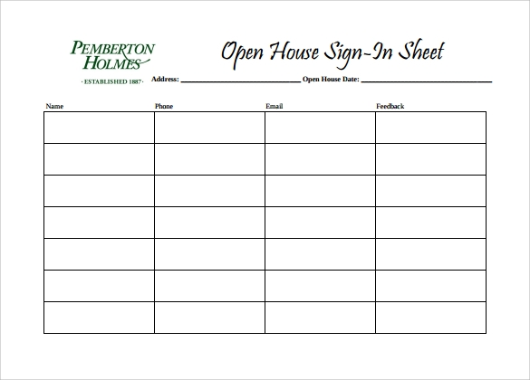 14 sample open house sign in sheets sample templates for Realtor open house sign in sheet template