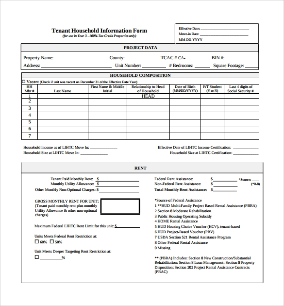 Sample Tenant Information Form   Download Free Documents In