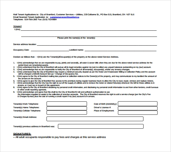 residency tenant information form