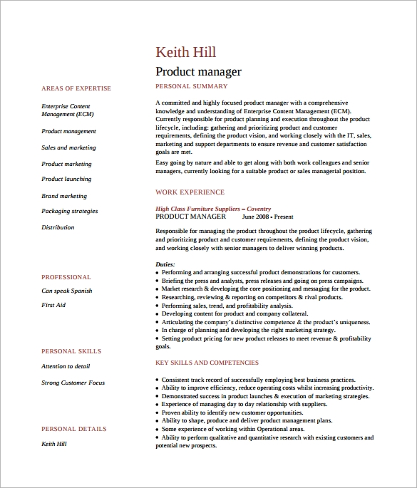 Product Manager Resume Word Template Free Download  Sample Product Manager Resume