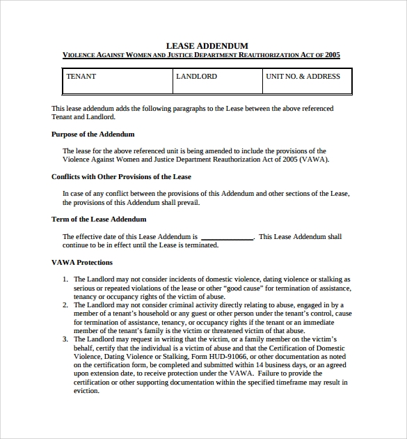 Sample Lease Addendum Form 14 Download Free Documents in PDF Word – Download Lease