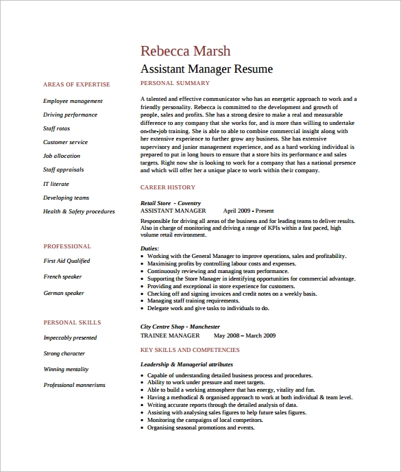 sample assistant manager resume
