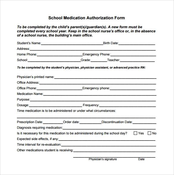 sample school medical form