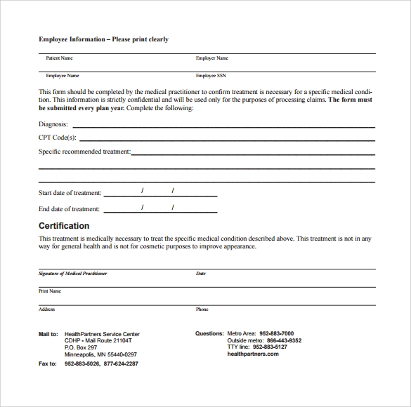 employer letter of medical necessity form