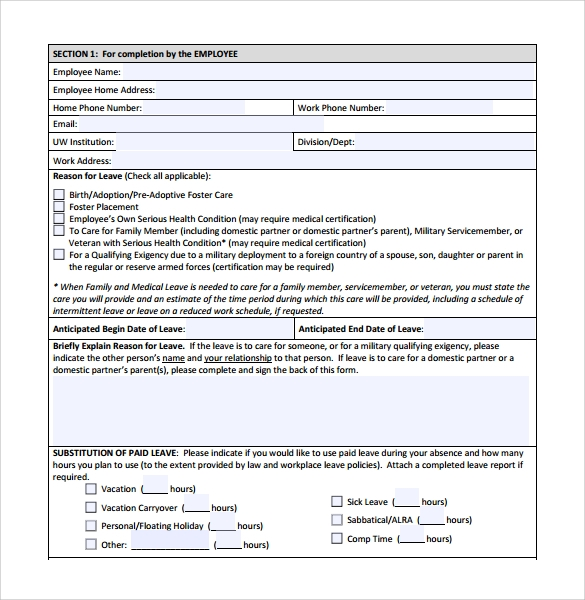 Elegant Medical Leave Form PDF Download