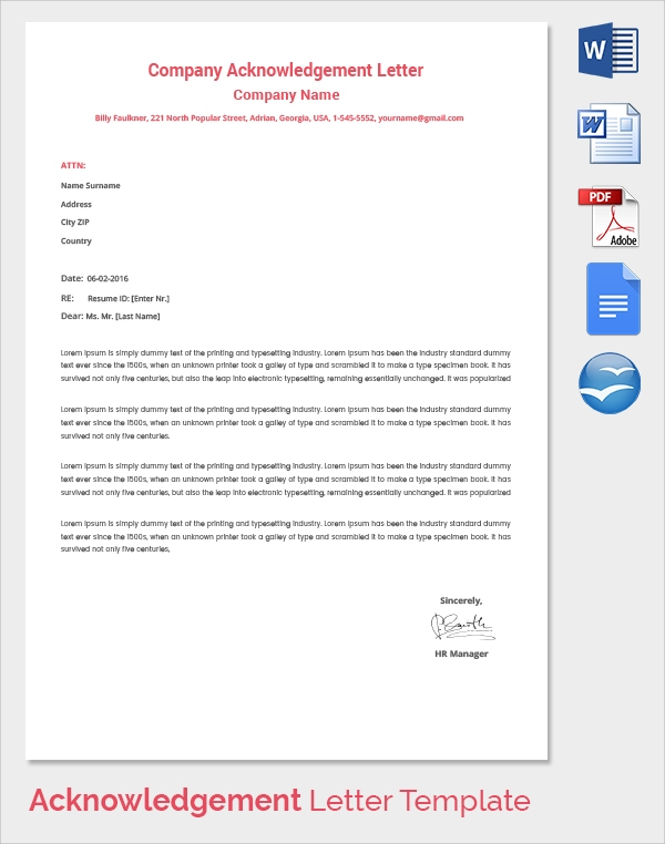 company acknowledgement letter template