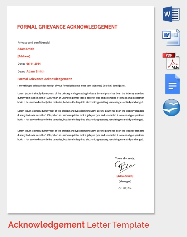 23 acknowledgement of service form templates to download sample formal grievance acknowledgement letter template spiritdancerdesigns Gallery