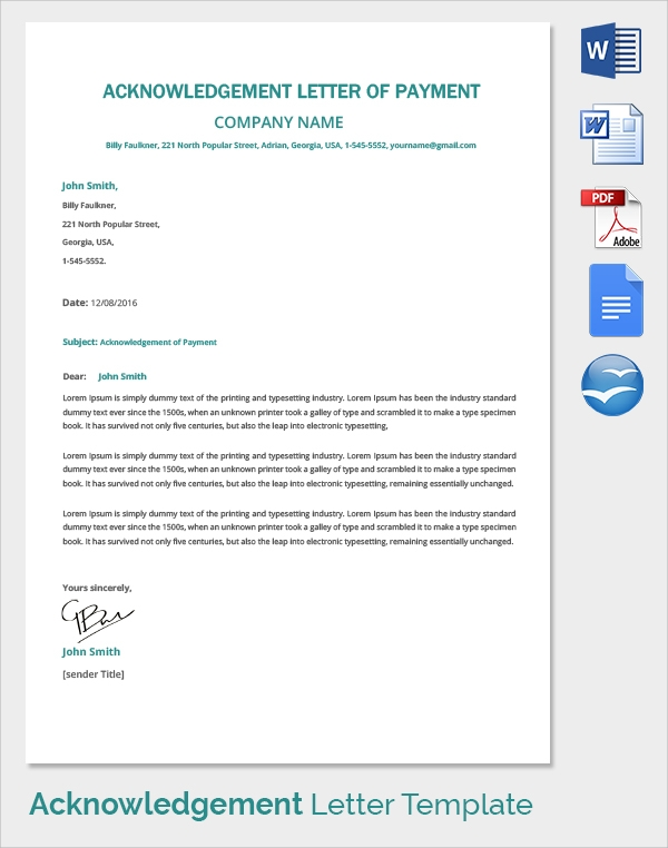 acknowledgement letter of payment template