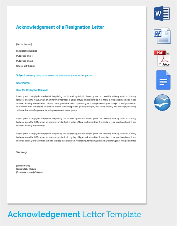 acknowledgement of a resignation letter