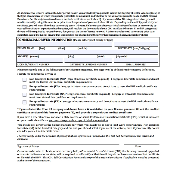 15 Cdl Medical Form Templates Sample Templates