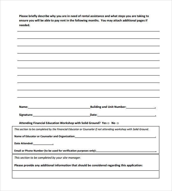 Sample Rental Assistance Form   Download Free Documents In Pdf