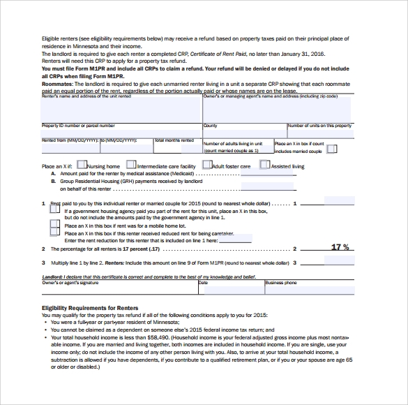 Sample Rent Certificate Form 10 Free Documents Download in PDF – Rent Certificate Form