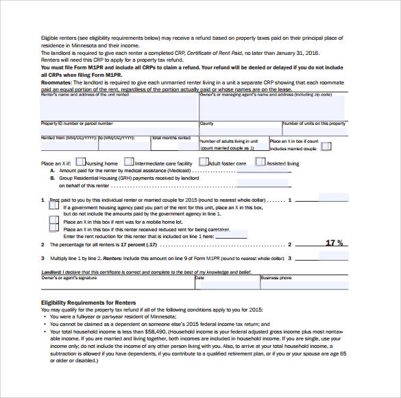 rent certificate form sample download