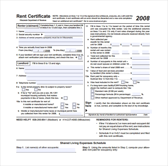 Sample Rent Certificate Form   Free Documents Download In Pdf