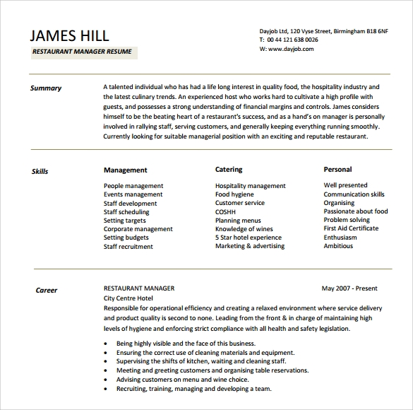 10 manager resume templates  u2013 samples  examples  u0026 format