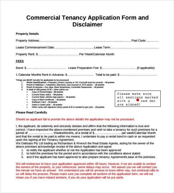 commercial tenancy lease application form