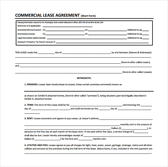 commercial lease agreement form sample