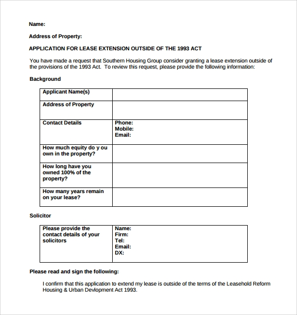 lease extension application form for free