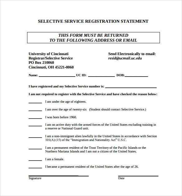 14 selective service registration form templates to download