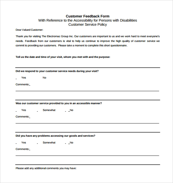 Feedback Forms Sample