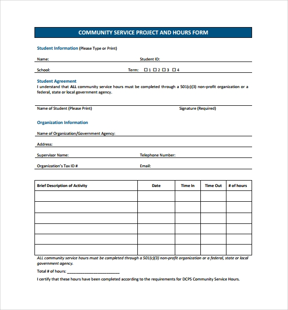 Sample Service Hour Form   Download Free Documents In Pdf Word