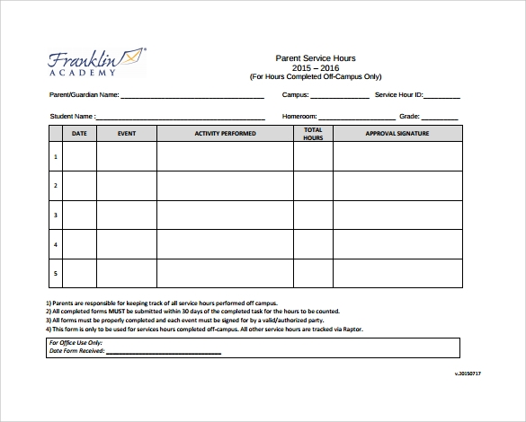 Sample Service Hour Form 13 Download Free Documents in PDF Word – Service Hour Form
