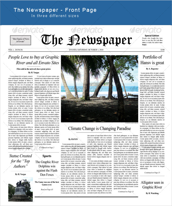 Sample Newspaper Front Page   Documents In Word Pdf Psd