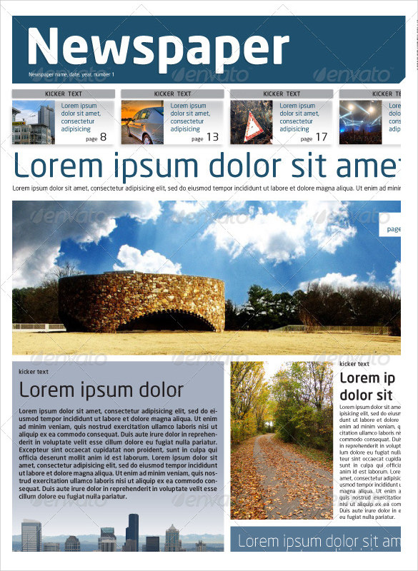 8 Sample Newspaper Layouts In Design PDF – Newspaper Layout Template