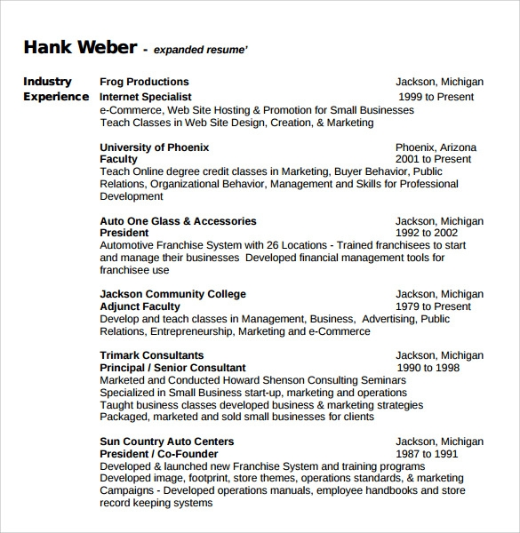 Example academic CV - SlideShare business consulting resume samples ...