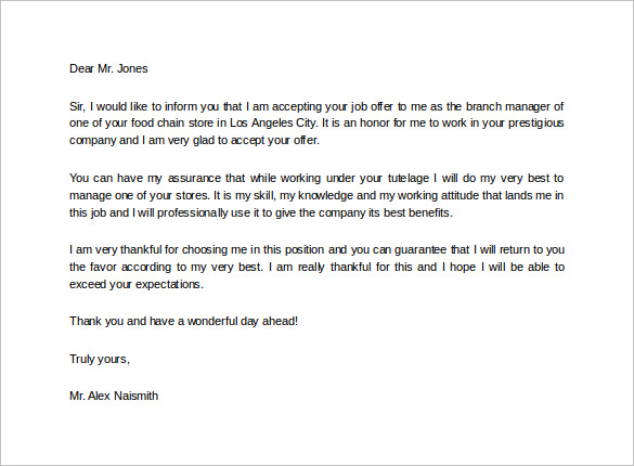 Attractive Job Acceptance Thank You Letter For Free